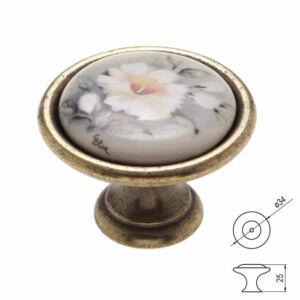 Fogantyú P07-01-12-04  D=34 Antik bronz-szürke virág