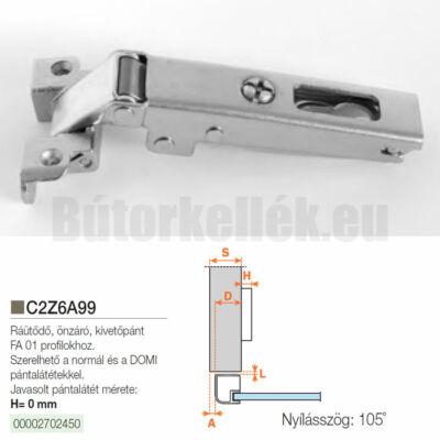 Bútorpánt C2Z6A99 keskeny alukerethez ráütődő Nikkel