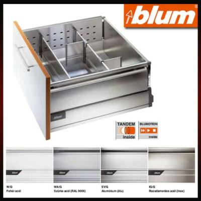Blum TandemBox plus 358M4002S 83mm magas fehér 400mm mélységű káva