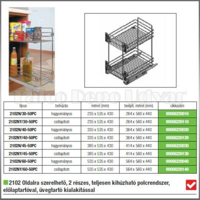 Konyhai fémrács 2102SY-60-50PC Oldallapra szerelhető kihúzható Kosár