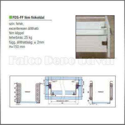 Fiókcsúszó FDS-FF 150 Fém fiókoldal 150x400mm fehér