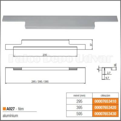 Fogantyú A027-295 295 Aluminium