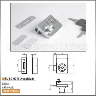 Bútorzár FL-G-02-R Üvegajtózár