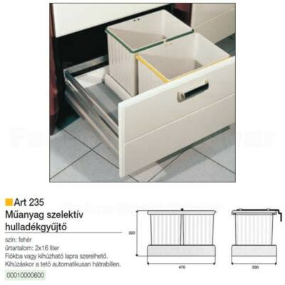 Hulladékgyűjtő ART 235 20L Fehér műanyag