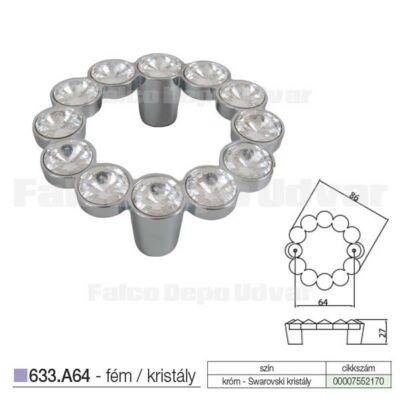 Fogantyú 633-A64-KR02 64 Swarovski kristály-Króm