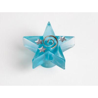 Fogantyú H 061-49 Világoskék műanyag csillag gomb