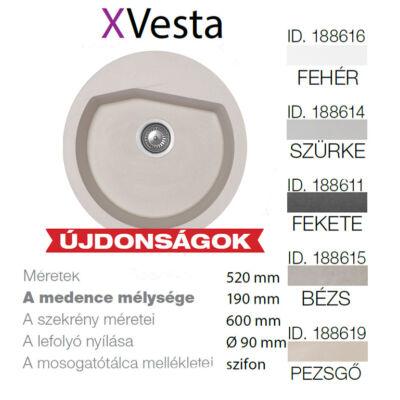 Vesta  XGranit Szürke mosogató 520x600/190mm 188614