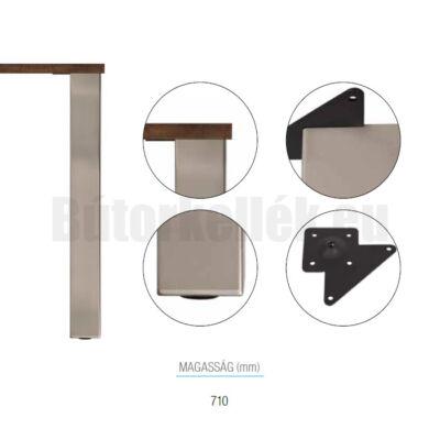 Asztalláb szögletes 710x80x80mm Nemesacél