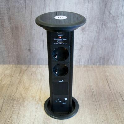 Konnektor Munkalapba süllyeszthető Motoros 3-as-2db-USB Fekete Bluetooth hangszóróval