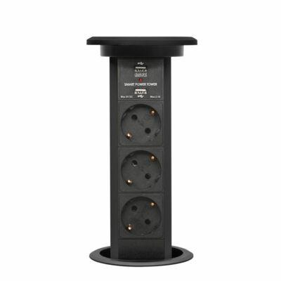 Konnektor Munkalapba süllyeszthető süllyeszthető Motoros  3db dugalj + 2 db USB Fekete
