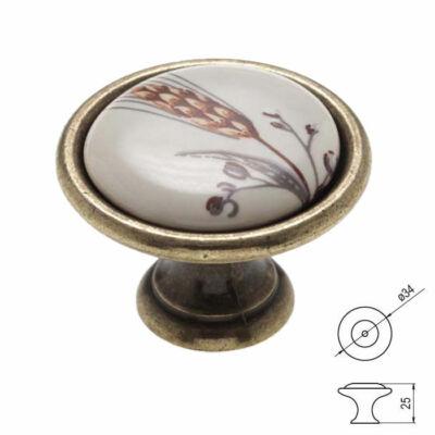 Fogantyú P07-01-81-04 Antik bronz-buzakalász átm:34mm