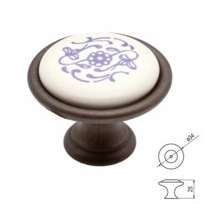 Fogantyú P07-01-90-B1G  átm-:34  C bronz-kék mot- porcelán