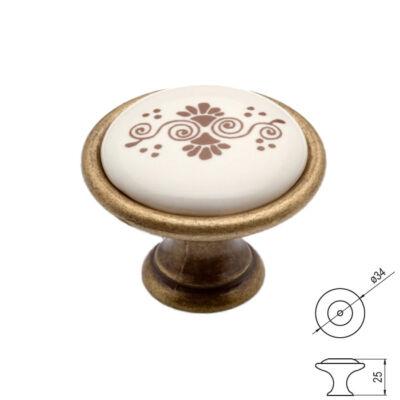 Fogantyú P07-01-B1-D1G Antik fir--barna motívum átm-:34mm porcelán