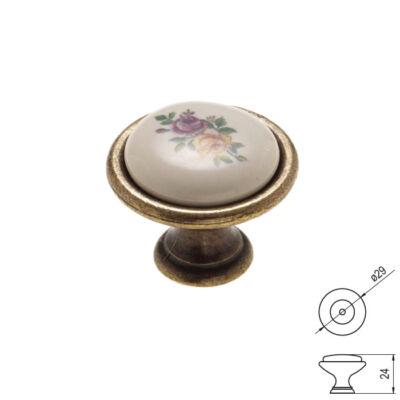 Fogantyú gomb P08-01-01-04 Színes virág porcelán antik-bronz