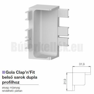 Fogantyú profil GOLA Clap'N'fit belső sarok szimpla profilhoz Alumínium