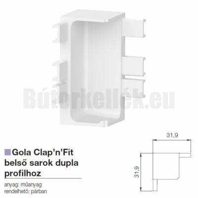 Fogantyú profil GOLA Clap'N'fit belső sarok szimpla profilhoz Fehér