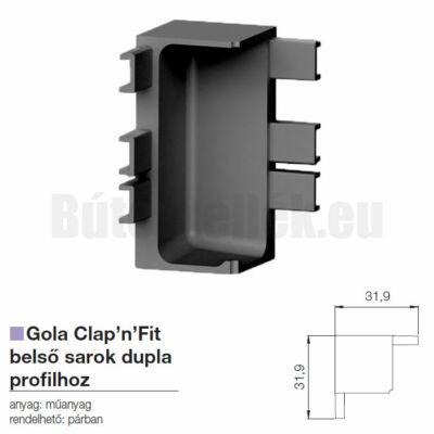 Fogantyú profil GOLA Clap'N'fit belső sarok szimpla profilhoz Fekete