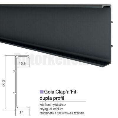 Fogantyú profil GOLA Clap'N'fit Dupla profil Fekete 4200mm