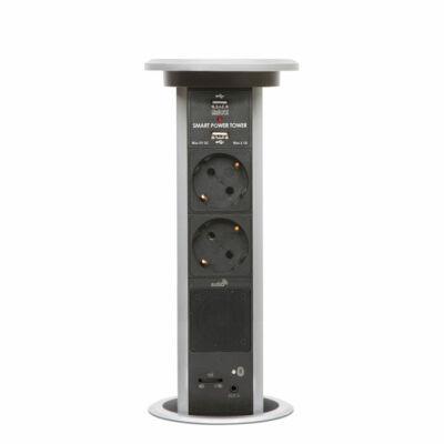 Konnektor Munkalapba süllyeszthető Motoros 3-as-2db-USB Ezüst Bluetooth hangszóróval