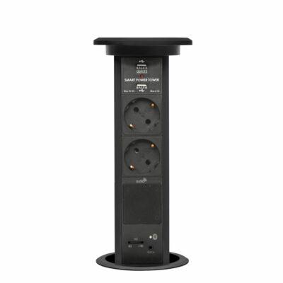 Konnektor Munkalapba süllyeszthető Motoros 2-es-2db-USB Fekete Bluetooth hangszóróval