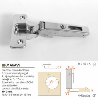 Butorpánt C1A6A99 Ráütődő kivetőpánt 8mm fazékmélység