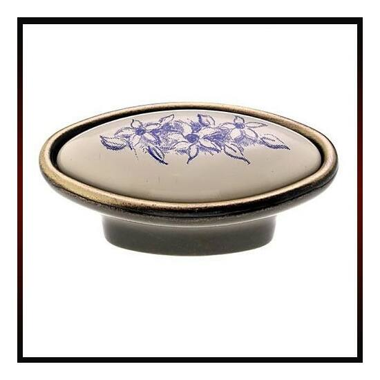 Fogantyú C2028-21-B 54 Antik bronz-kék virág