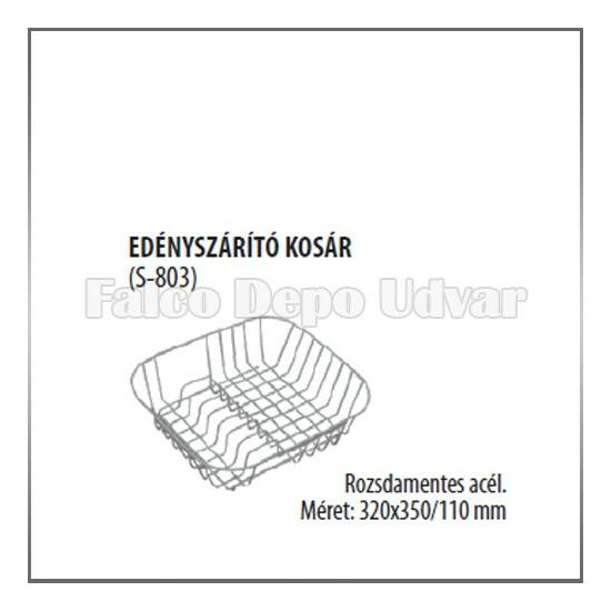 Edényszárító rácskosár tányértartós 320x350-110mm