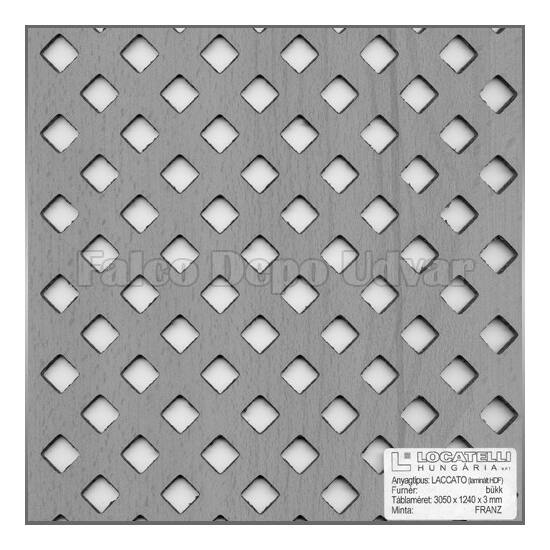 Perforált lemez Legno furnérozott Hdf-Franz Anegré/anegré 1520x610x4mm