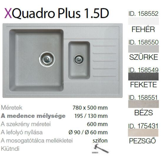 Quadro plus 1.5D XGranit Szürke mosogató 780x500/195/130mm 158550