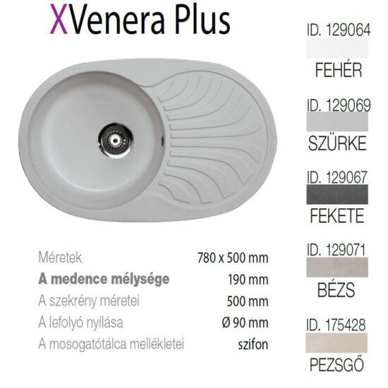 Venera Plus XGranit Szürke mosogató 780x500/190mm 129069