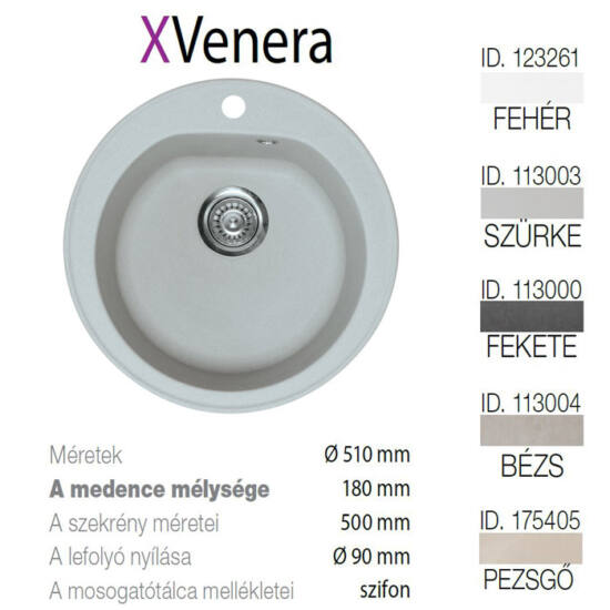 Venera XGranit Szürke mosogató 510mm/180mm 113003