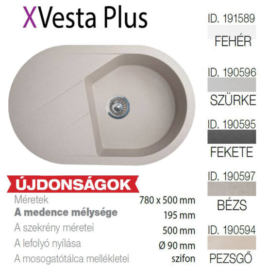 Vesta Plus XGranit Szürke mosogató 780x500/195mm 190596
