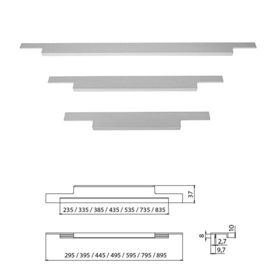 Fogantyú A027-495 495 Aluminium