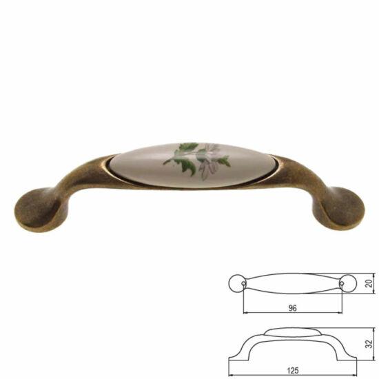 Fogantyú M10-01-20-04 Zöld virág  Antik-bronz