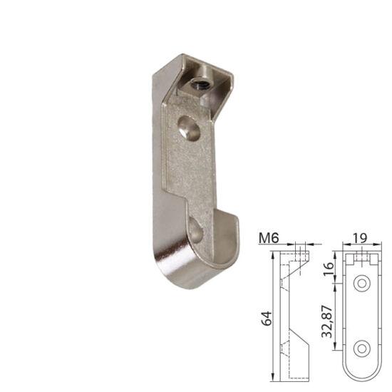 Fém vállfatartó rúdtartó 64mm ovális Nikkel 12106