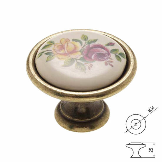Fogantyú P07-01-01-04-D34 Antik bronz színes virág