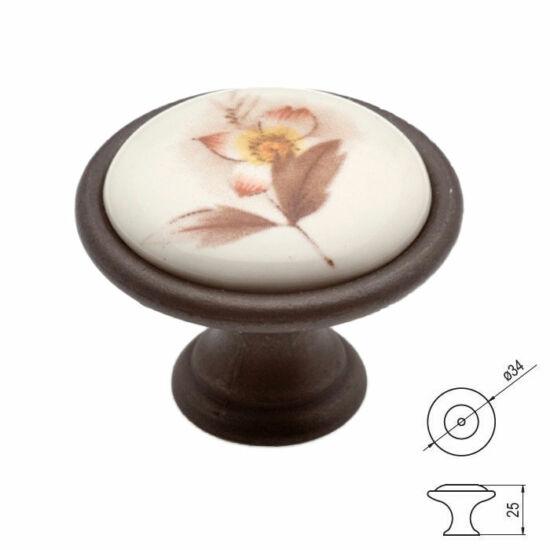 Fogantyú P07-01-02-B1G  átm-:34  C bronz-barna virág porcelán