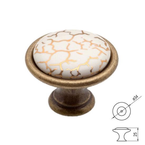 Fogantyú P07-01-A1-D1G Antik fir-arfüs átm-:34 porcelán