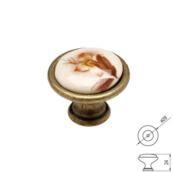 Fogantyú P08-01-02-04 Antik bronz-barna átm-: 29mm