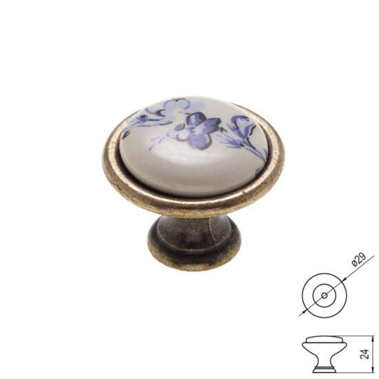 Fogantyú P08-01-25-04 Kék virág porcelán Antik-bronz