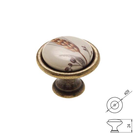 Fogantyú P08-01-81-04 átm-:29 Antik bronz-búzakalász