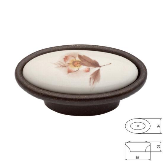 Fogantyú P18-01-02-B1G CBronz-barna virág porcelán Átm:58x34