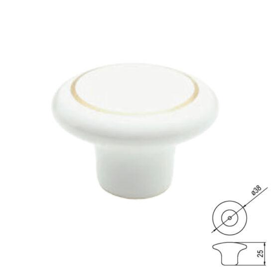 Fogantyú T402-38 kerek Fehér-arany porcelán