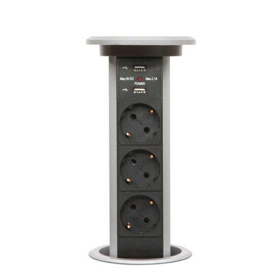 Konnektor Munkalapba süllyeszthető süllyeszthető Motoros  3db dugalj + 2 db USB